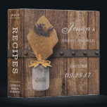 """Country Rustic Lavender Mason Jar Bridal Shower Binder<br><div class=""""desc"""">This recipe card binder is perfect for any rustic country themed bridal shower. The design features a bouquet of wild lavender flowers, wrapped in burlap and standing in an elegant mason jar. The design has a wonderful rich wood background which is simply perfect for any barn or woodland celebration and...</div>"""