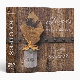Country Rustic Lavender Mason Jar Bridal Shower Binder