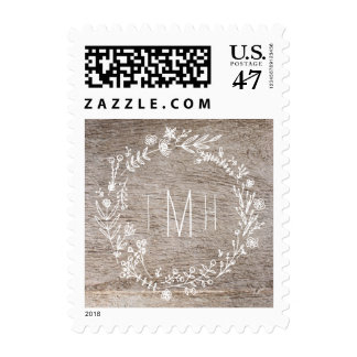 Country Rustic Light Wood Monogram Wedding Postage