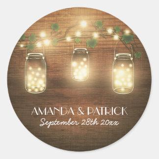Country Rustic Lights Mason Jar Wedding Favors Classic Round Sticker