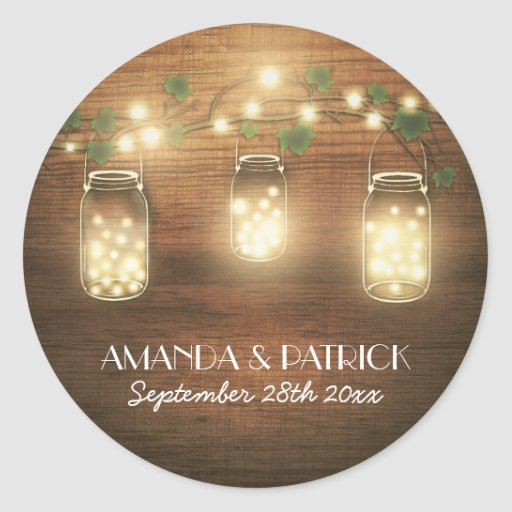 Country Rustic Lights Mason Jar Wedding Favors Classic Round Sticker