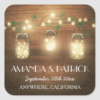 Country Rustic Lights Mason Jar Wedding Favors Square Sticker