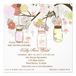 Country Rustic Mason Jar Baby Shower Invites