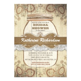 country rustic mason jar bridal shower personalized invitations