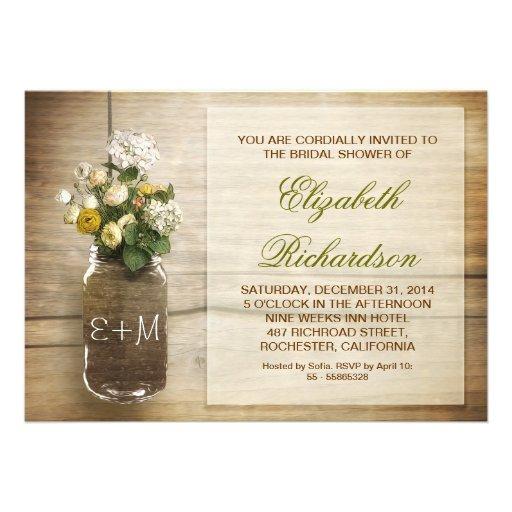 country rustic mason jar bridal shower invitations 5quot x 7 With country wedding shower invitations