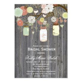 Country Rustic Mason Jar Bridal Shower Invites