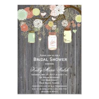 "Country Rustic Mason Jar Bridal Shower Invites 5"" X 7"" Invitation Card"