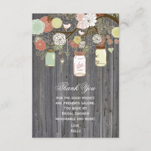 country rustic mason jar bridal shower thank you