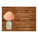 Country Rustic Mason Jar Coral Dark Bridal Shower 5x7 Paper Invitation Card