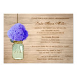 "Country Rustic Mason Jar Cornflower Blue Hydrangea 5"" X 7"" Invitation Card"