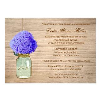 Country Rustic Mason Jar Cornflower Blue Hydrangea Invites