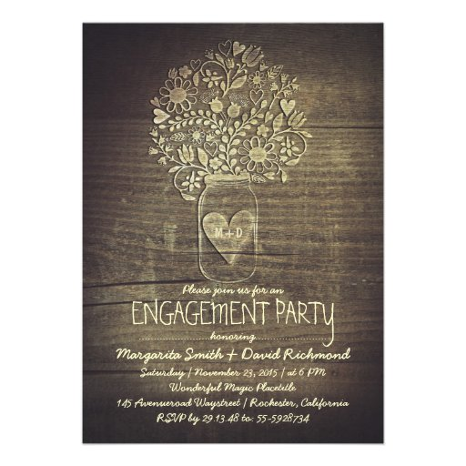 country rustic mason jar floral engagement party invite