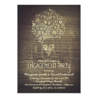 "country rustic mason jar floral engagement party 5"" x 7"" invitation card"