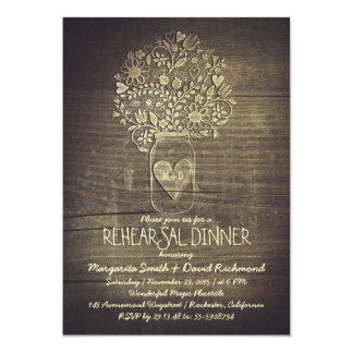 country rustic mason jar floral rehearsal dinner 5x7 paper invitation card