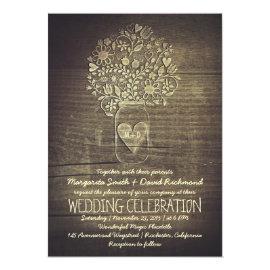 country rustic mason jar floral wedding invitation 5