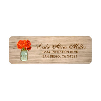 Country Rustic Mason Jar Flowers Address Labels