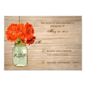 Country Rustic Mason Jar Flowers RSVP 3.5x5 Paper Invitation Card