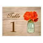 Country Rustic Mason Jar Flowers Table Number Postcard