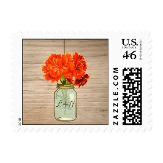 Country Rustic Mason Jar Flowers Wedding Stamps