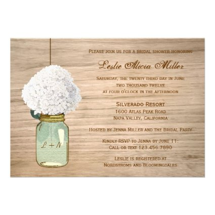Country Rustic Mason Jar Hydrangea Bridal Shower Custom Announcements