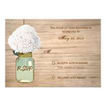 "Country Rustic Mason Jar Hydrangea RSVP 3.5"" X 5"" Invitation Card"