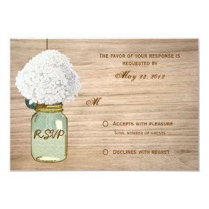 Country Rustic Mason Jar Hydrangea RSVP 3.5x5 Paper Invitation Card