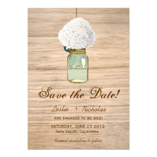 Country Rustic Mason Jar Hydrangea Save the Date Personalized Announcements