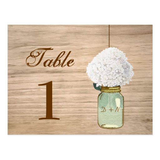 Country Rustic Mason Jar & Hydrangea Table Number Post Card