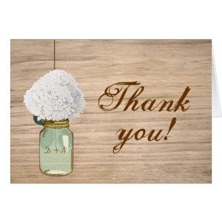 Country Rustic Mason Jar Hydrangea Thank You Card