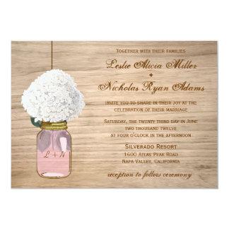 """Country Rustic Mason Jar Hydrangea Wedding 5"""" X 7"""" Invitation Card"""