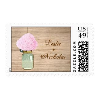 Country Rustic Mason Jar Hydrangea Wedding Stamps
