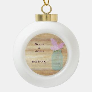 Country Rustic Mason Jar Lilac Ceramic Ornament