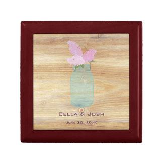 Country Rustic Mason Jar Lilacs Wedding Gift Box