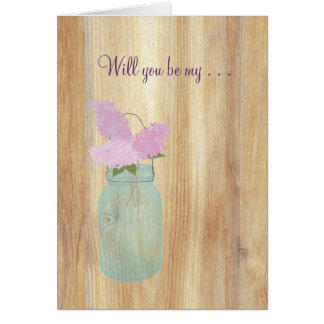Country Rustic Mason Jar Lilacs Will You Be My Card