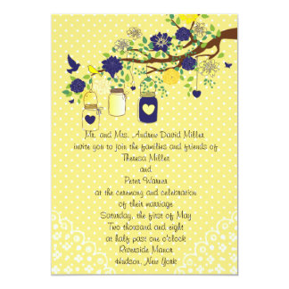 Country Rustic Mason Jar Navy Blue and Yellow Gold Card