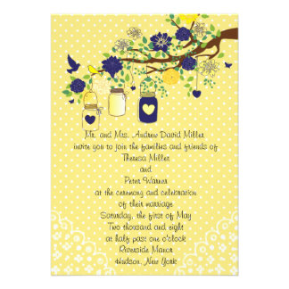 Country Rustic Mason Jar Navy Blue and Yellow Gold Custom Invitations