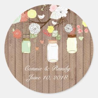 Country Rustic Mason Jar on Wood Wedding Sticker
