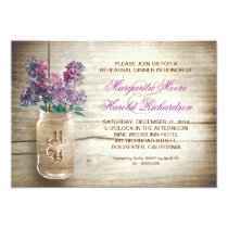 country rustic mason jar rehearsal dinner invites
