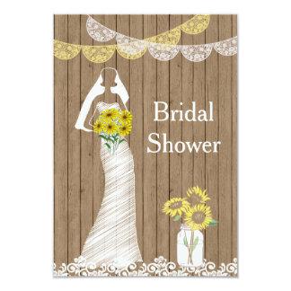Country Rustic Mason Jar Sunflower Bride Bridal Sh Card