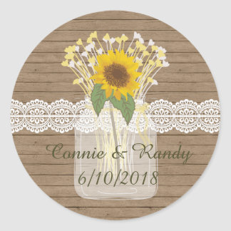 Country Rustic Mason Jar Sunflower Stickers