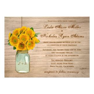 Country Rustic Mason Jar Sunflowers Wedding Custom Invite