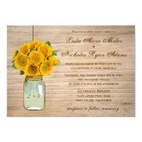 Country Rustic Mason Jar Sunflowers Wedding 5&quot; X 7&quot; Invitation Card (<em>$2.01</em>)