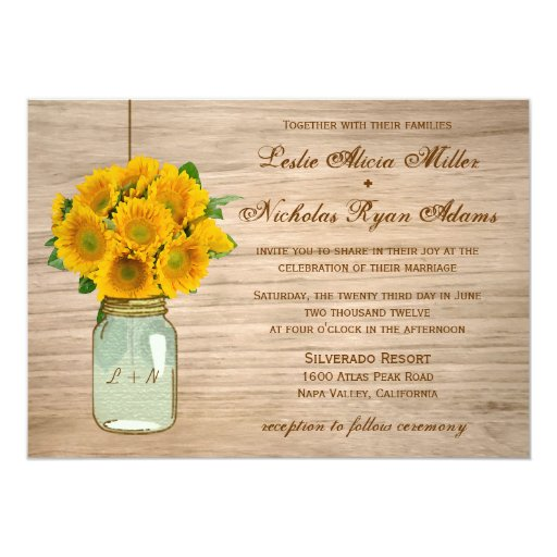 Country Rustic Mason Jar Sunflowers Wedding 5x7 Paper Invitation Card