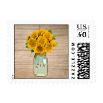 Country Rustic Mason Jar Sunflowers Wedding Stamps