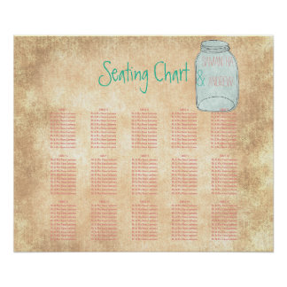 Country rustic mason jar table seating chart poster