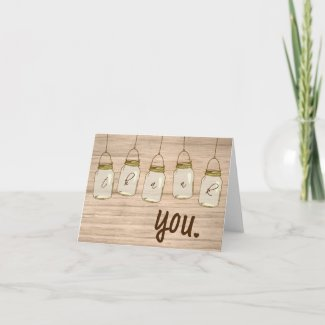 Country Rustic Mason Jar Thank You Note