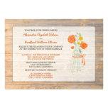 Country Rustic Mason Jar Wedding Invitation: coral
