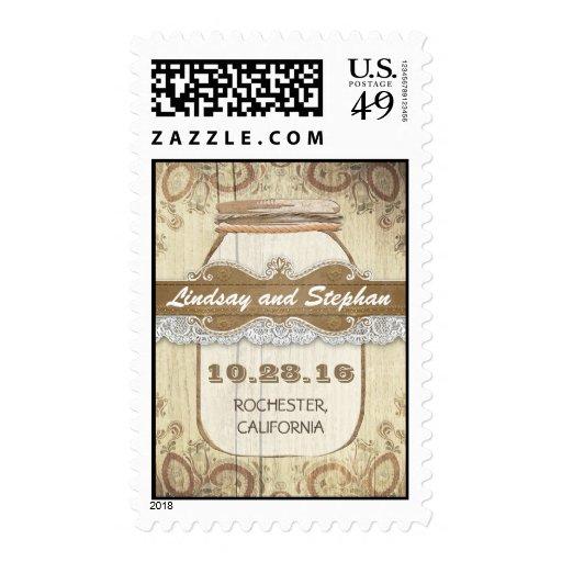country rustic mason jar wedding postage stamp