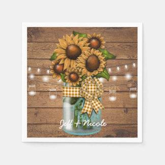Country Rustic Mason Jar with Sunflower Napkin