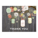 Country Rustic Mason Jars Bridal Shower Thank You Postcard